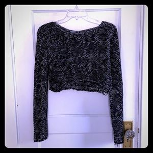 Charlotte Russe black and white knit crop top